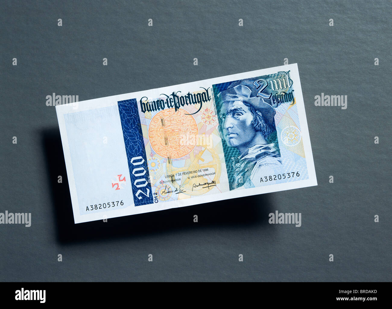 Former 2,000 Portuguese Escudos note - Stock Image