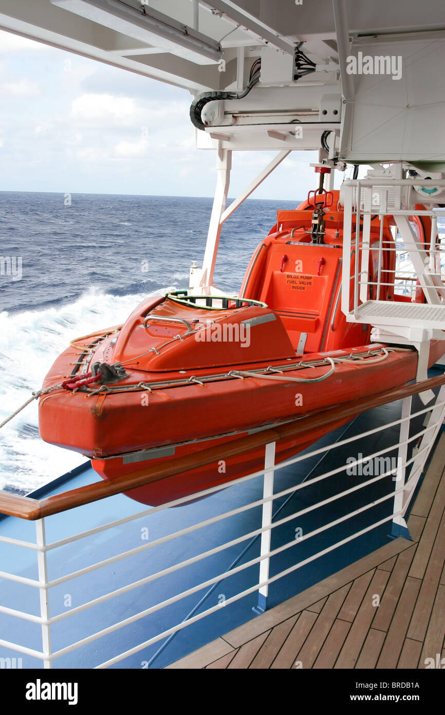 "High speed rescue craft stowed securely on the passenger ship ""Island Princess"" for safety of life at sea. Stock Photo"