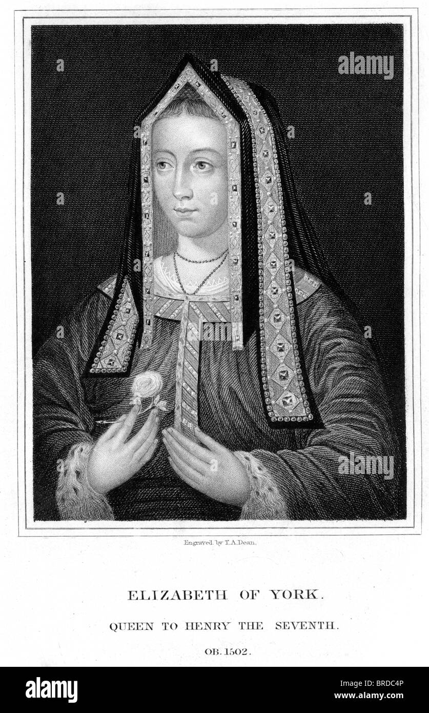 Vintage engraving from 1835 showing Elizabeth of York was Queen consort of England as spouse of King Henry VII - Stock Image