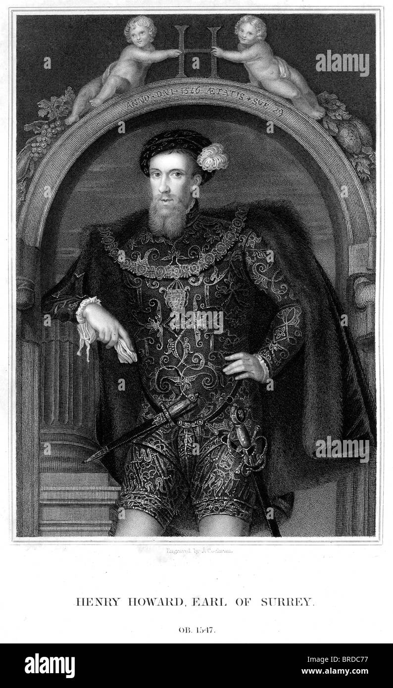 Henry Howard, Earl of Surrey an English aristocrat, and one of the founders of English Renaissance poetry. - Stock Image