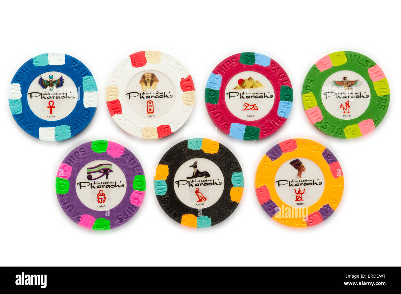 Clay poker chips manufactured by Paulson with imaginary \
