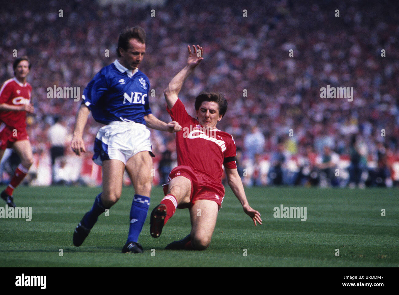 Everton V Liverpool in the 1989 FA Cup Final Peter Beardsley and Trevor Steven - Stock Image