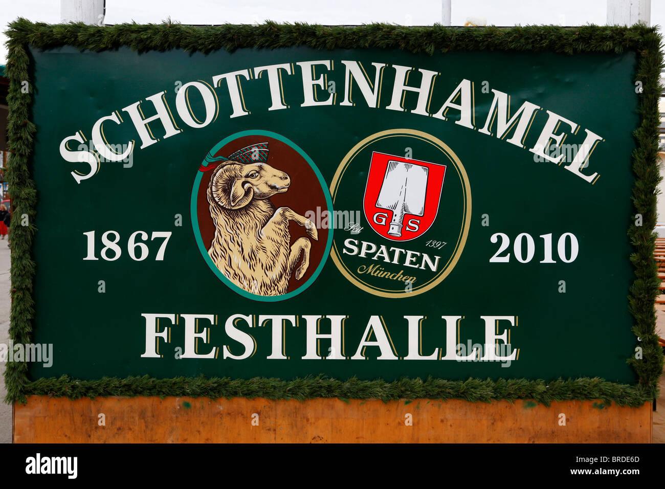 A sign for the Schottenhamel Festhalle at the 2010 Munich Oktoberfest. Stock Photo