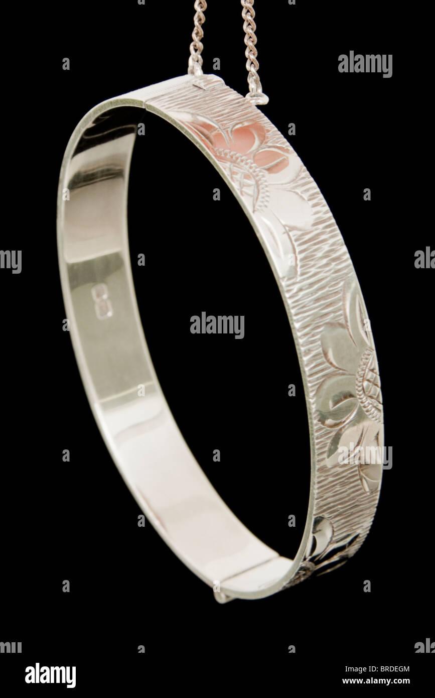 Sterling Silver christening bangle - Stock Image