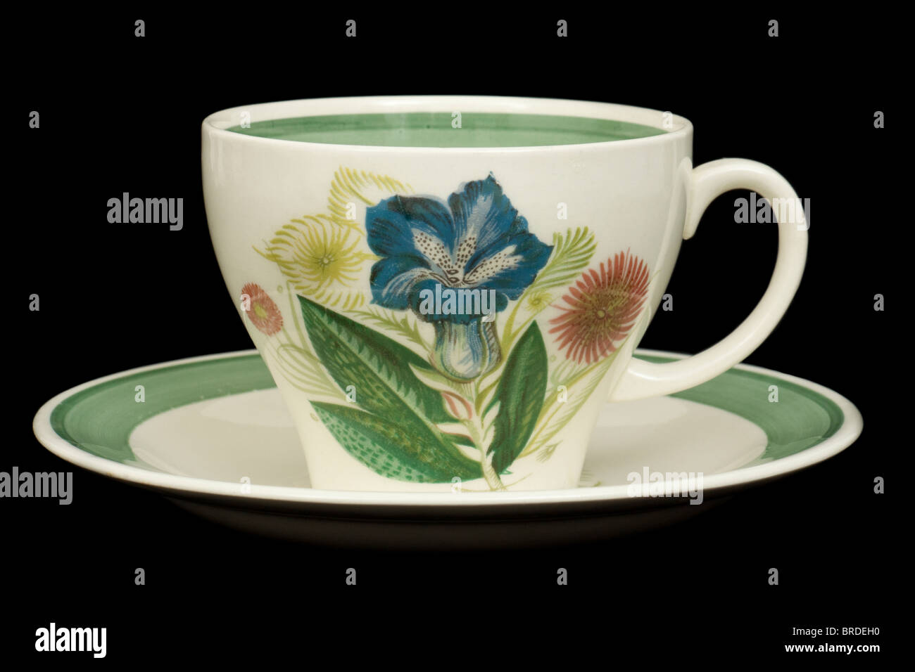 Susie Cooper (Blue Gentian pattern) ceramic tea cup and saucer - Stock Image