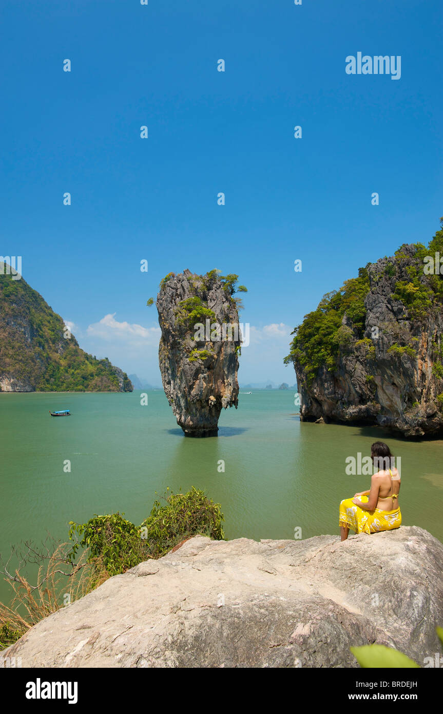 James Bond Island, Phang Nga Bay National Park, Phuket, Thailand - Stock Image