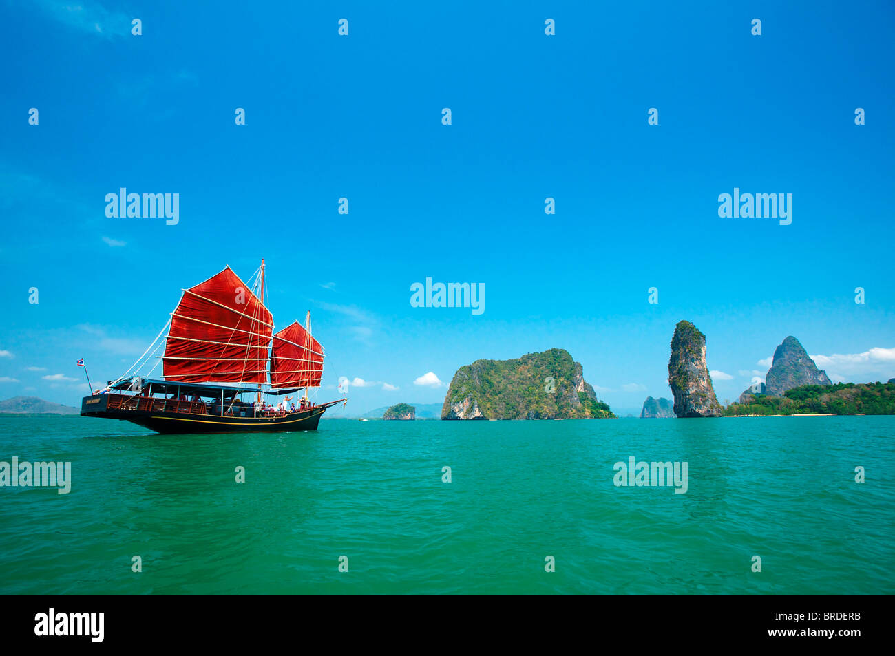 Junk in the Phang Nga Bay, Phuket, Thailand - Stock Image