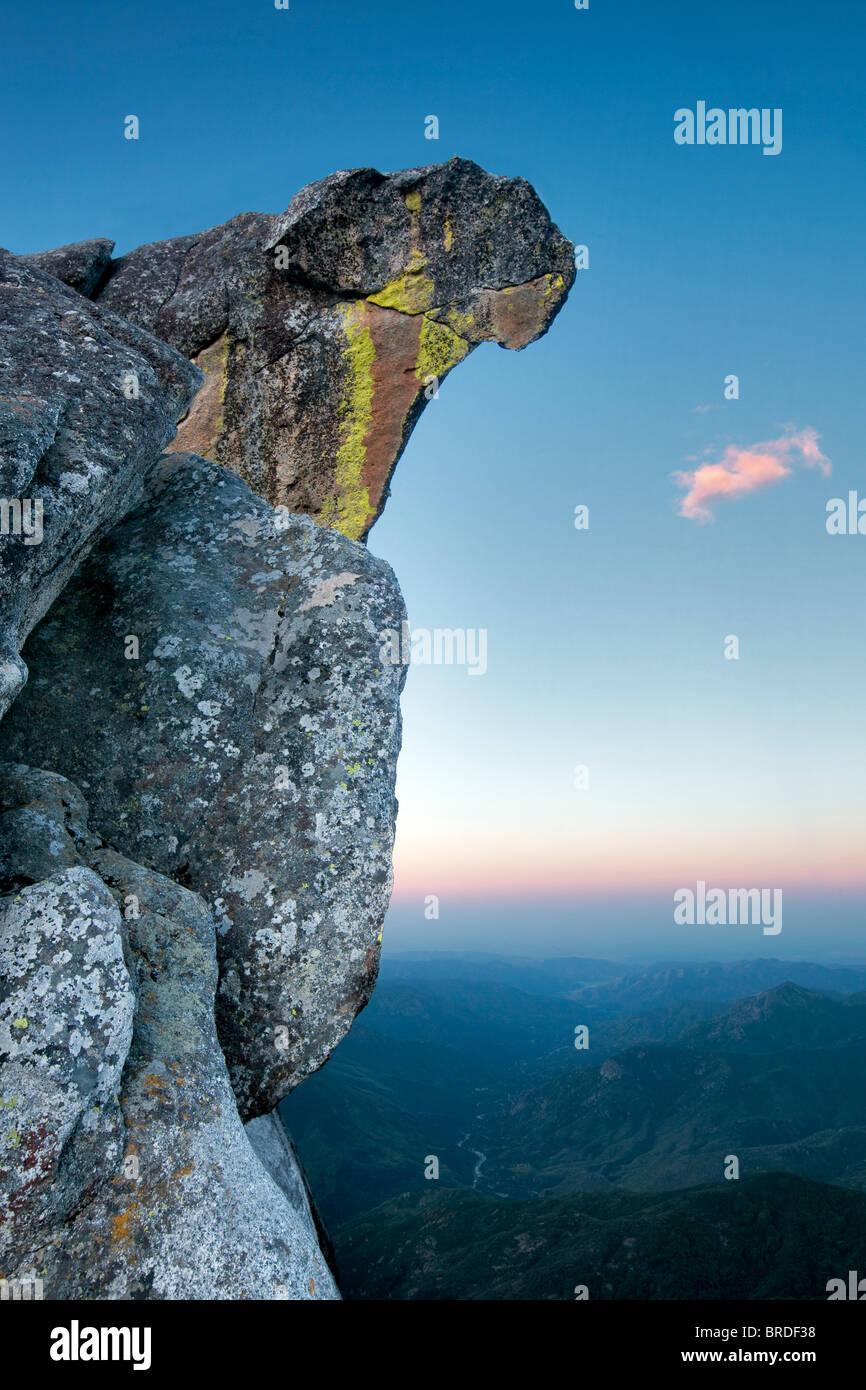 Sunrise over Moro Rock. Sequoia National Park, California - Stock Image