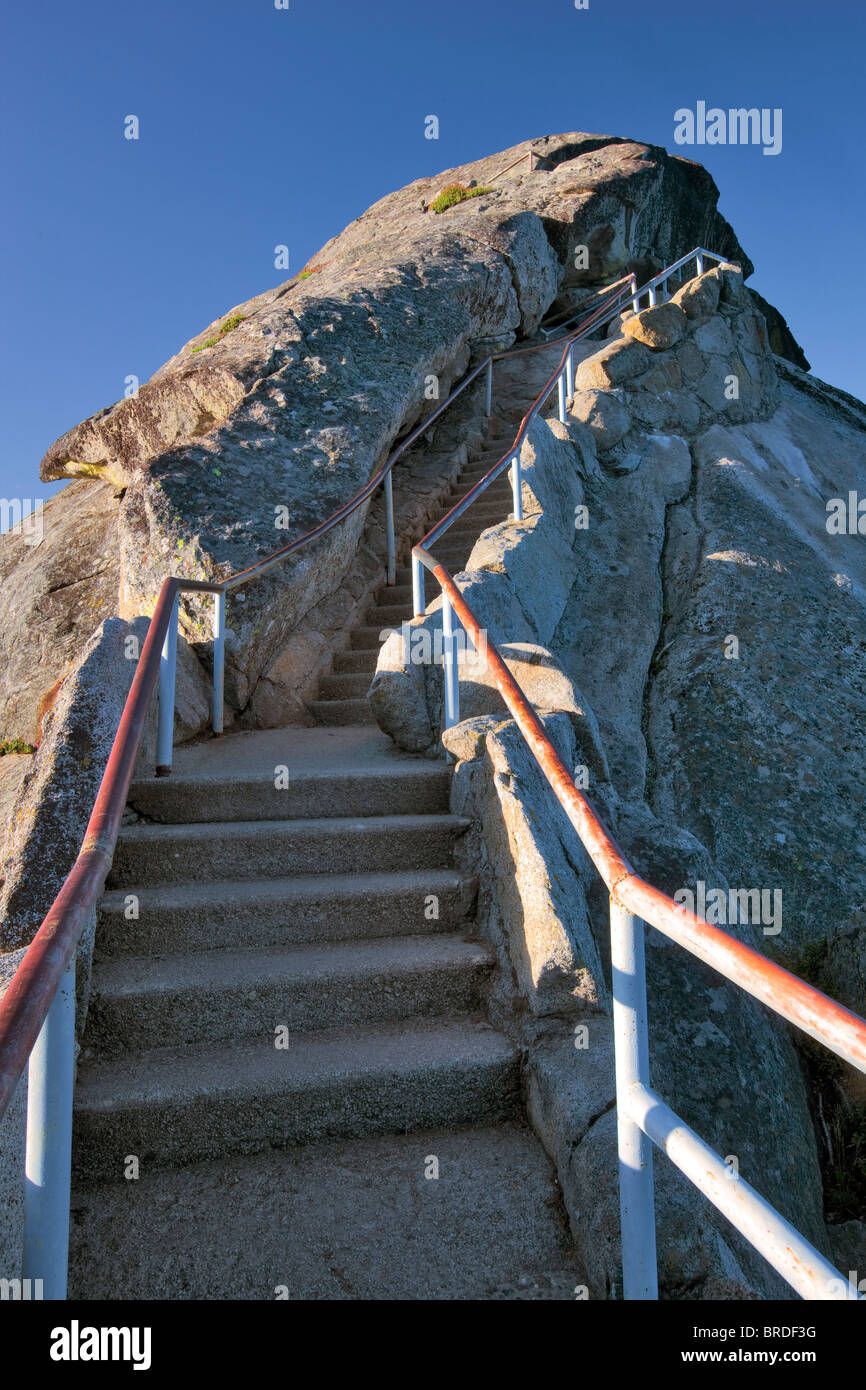Stairs up Moro Rock. Sequoia National Park, California - Stock Image