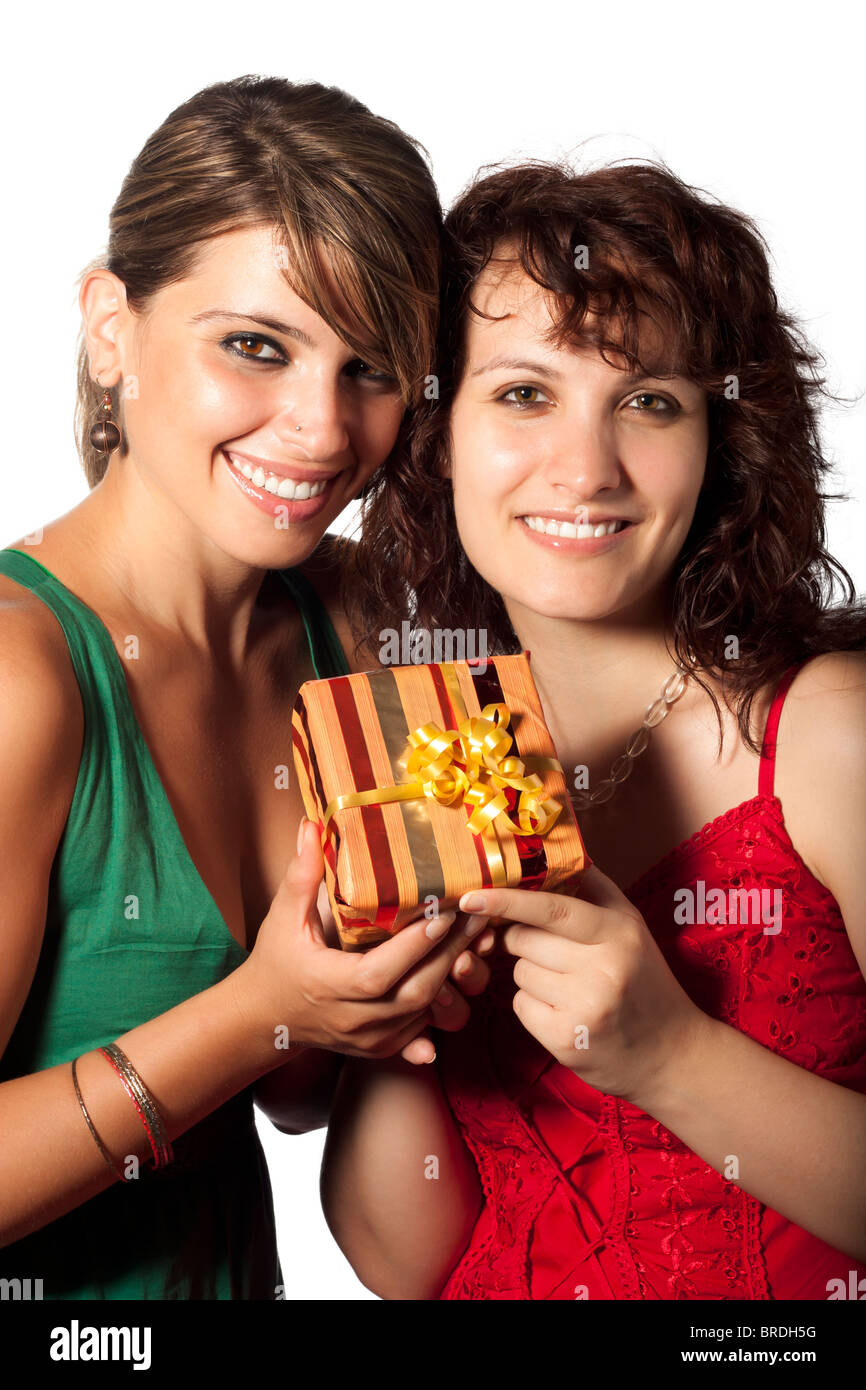 Two Women with Present - Stock Image