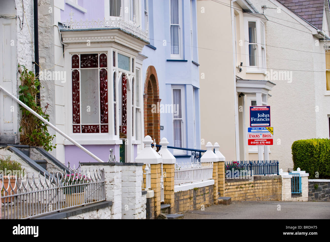 Period house for sale in the Welsh seaside holiday resort of New Quay Ceredigion West Wales UK - Stock Image