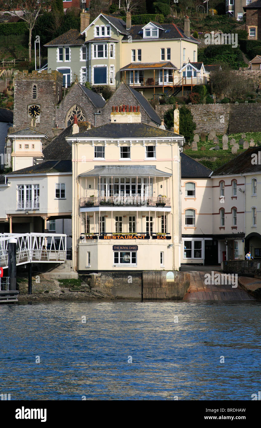 A view of the Royal Dart pub in Kingswear from the River