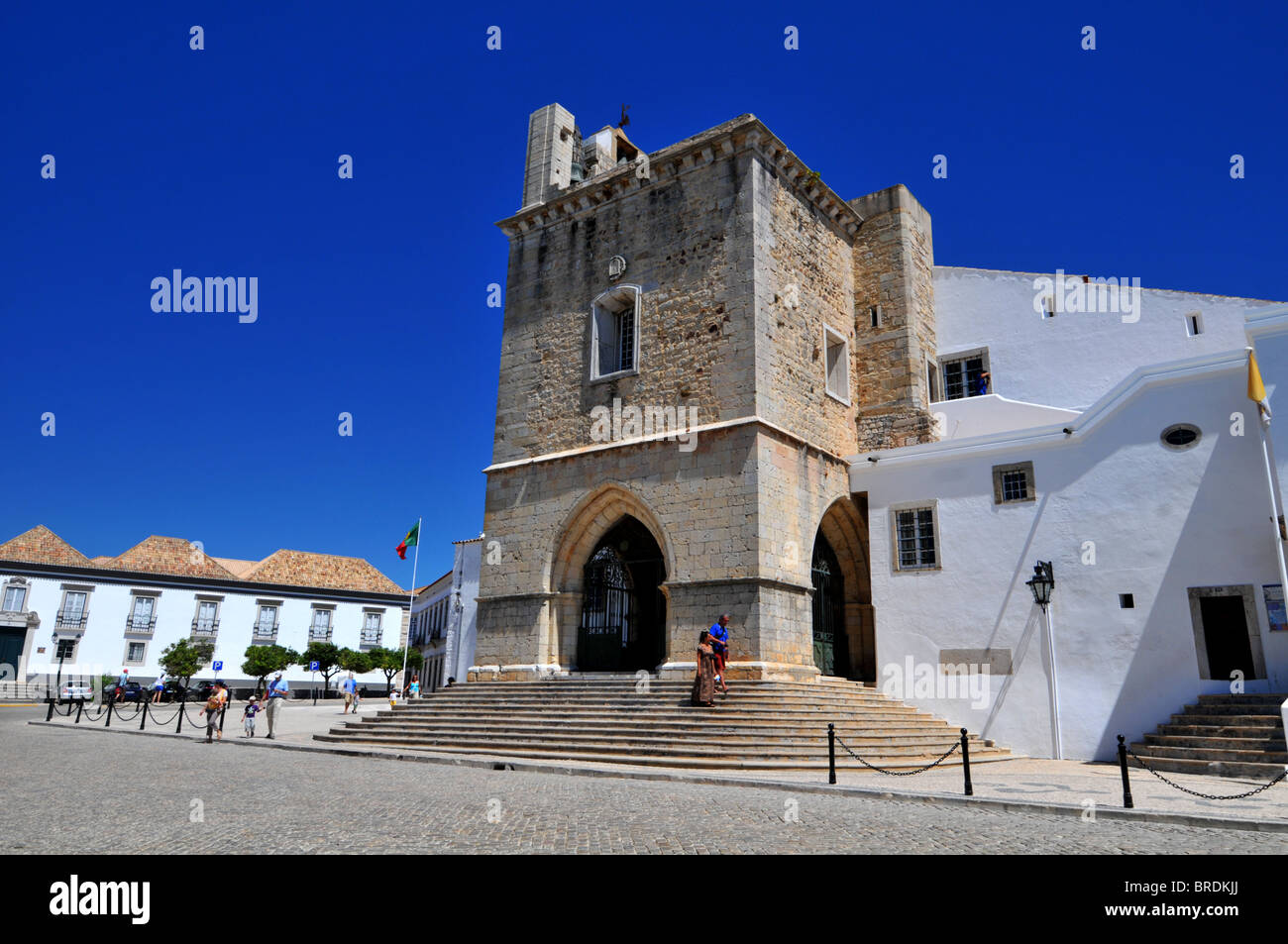 Cathedral in square of Largo da Se Cathedral, Faro old town, Portugal - Stock Image