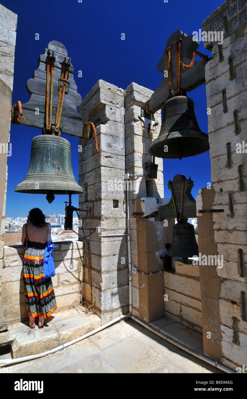 Cathedral bell in square of Largo da Se Cathedral, Faro old town Portugal - Stock Image