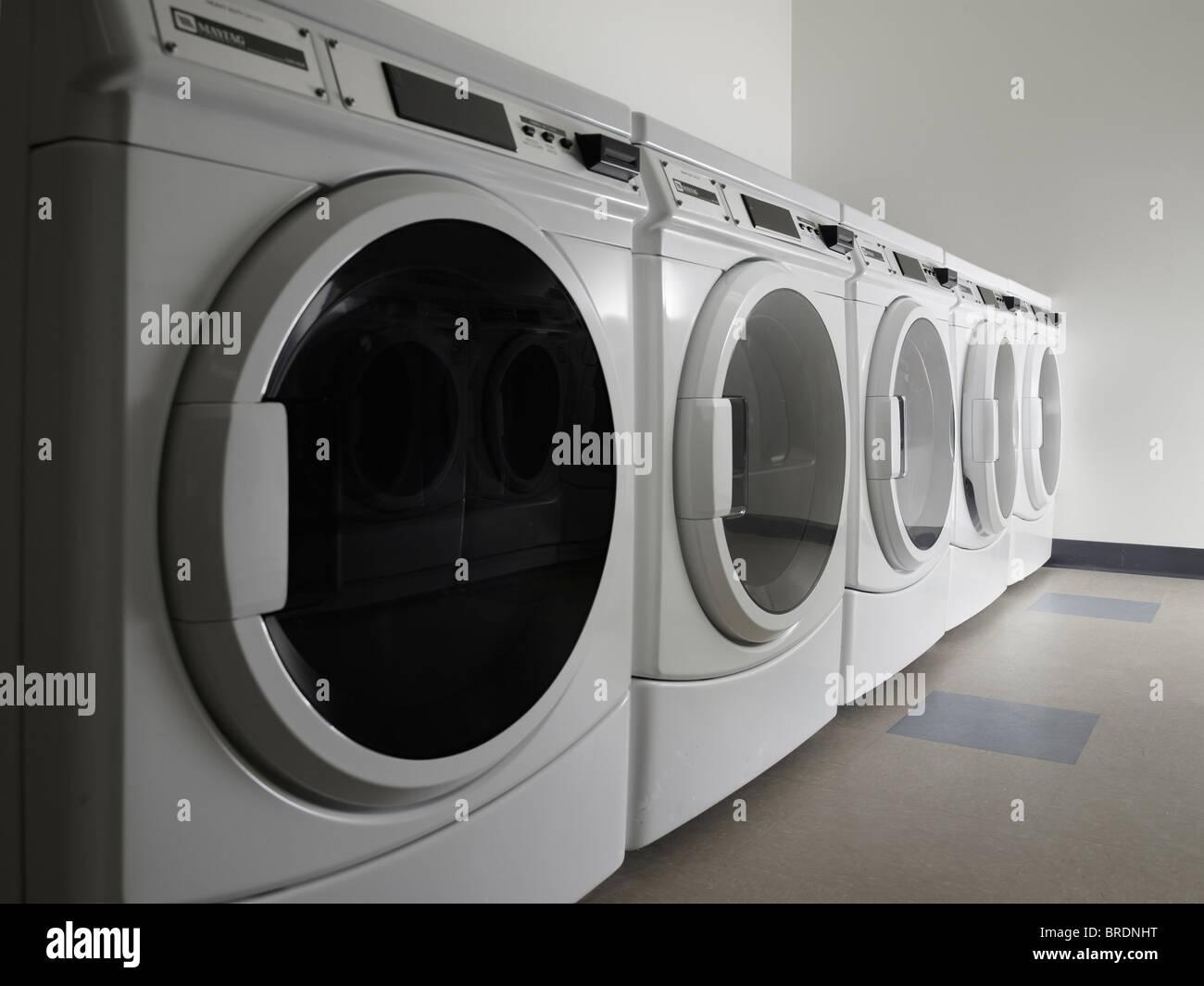 New Washing Machines In Laundromat Laundrette, Philadelphia, USA - Stock Image