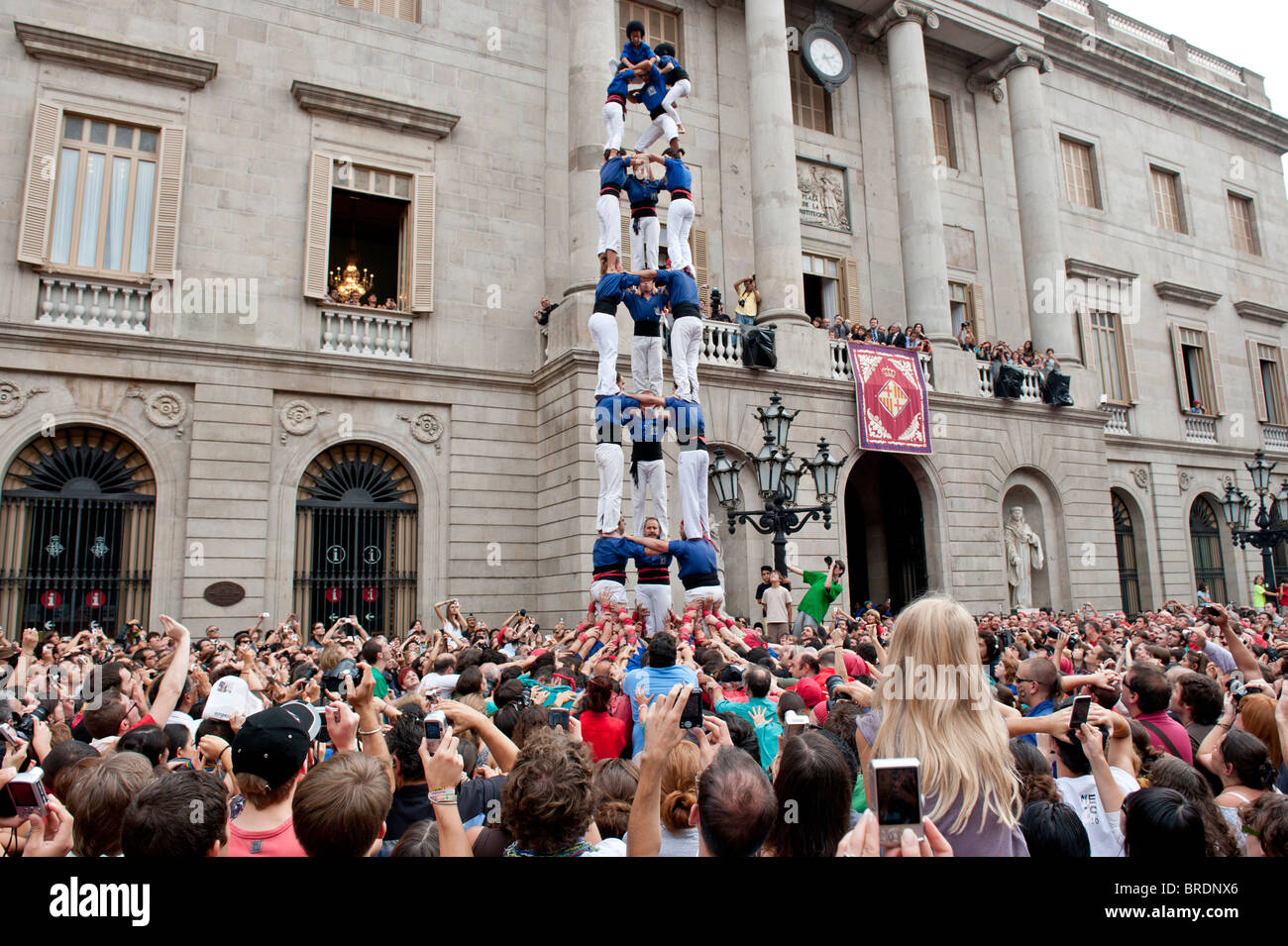 Human Castles, Castellers at St.Jaume Square for La Merce Festival in Barcelona, Catalonia, Spain 2010. - Stock Image