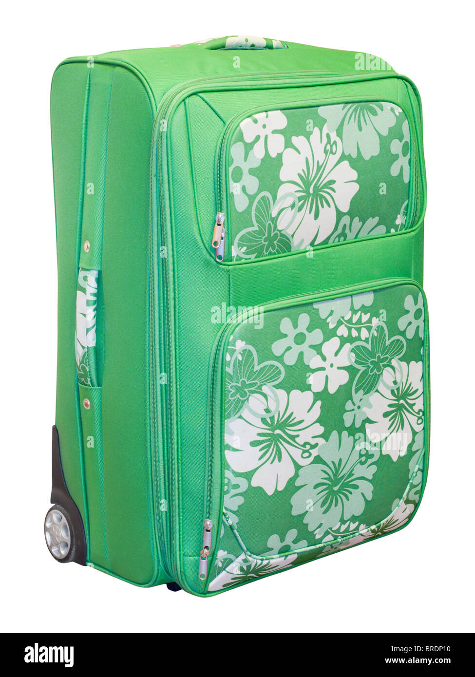 Green travel suitcase. Isolated on white background with clipping path. - Stock Image
