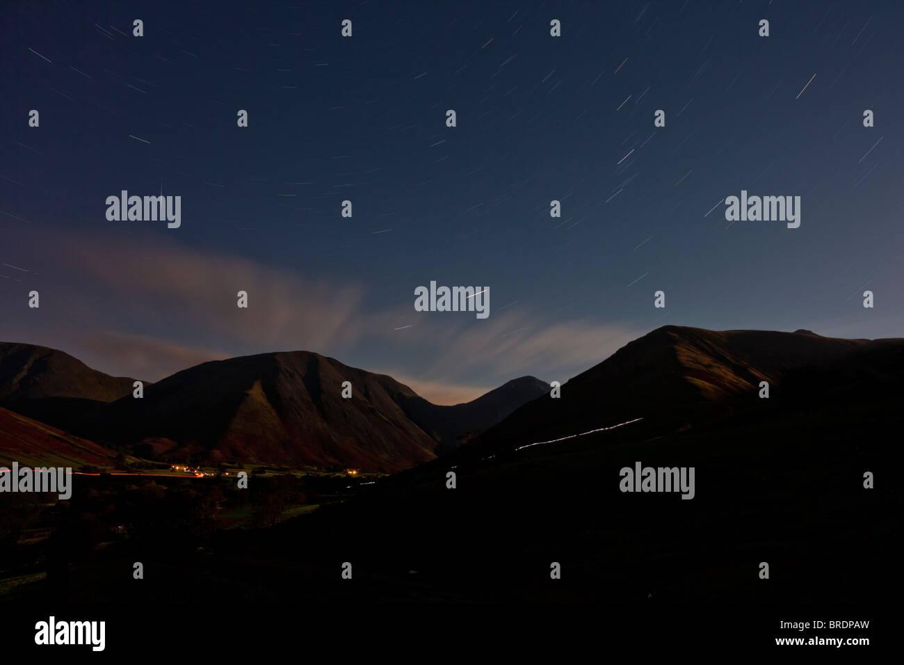 Wasdale Head at night, Cumbria - Stock Image