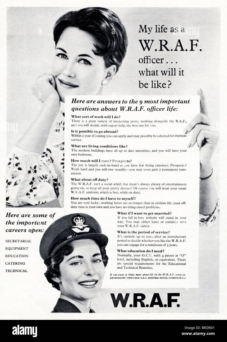 Black and white advert for Womens Royal Air Force officers in fashion magazine circa 1959 - Stock Image
