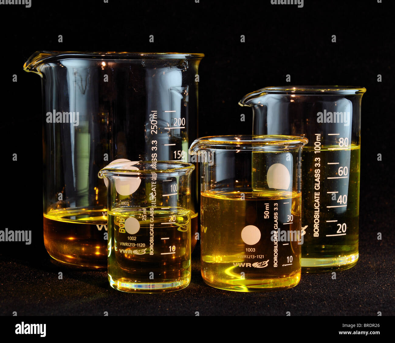 empty Clear glass measuring beakers  in a group 25ml 50ml 100ml 250ml all containing carrier oil oils against Stock Photo