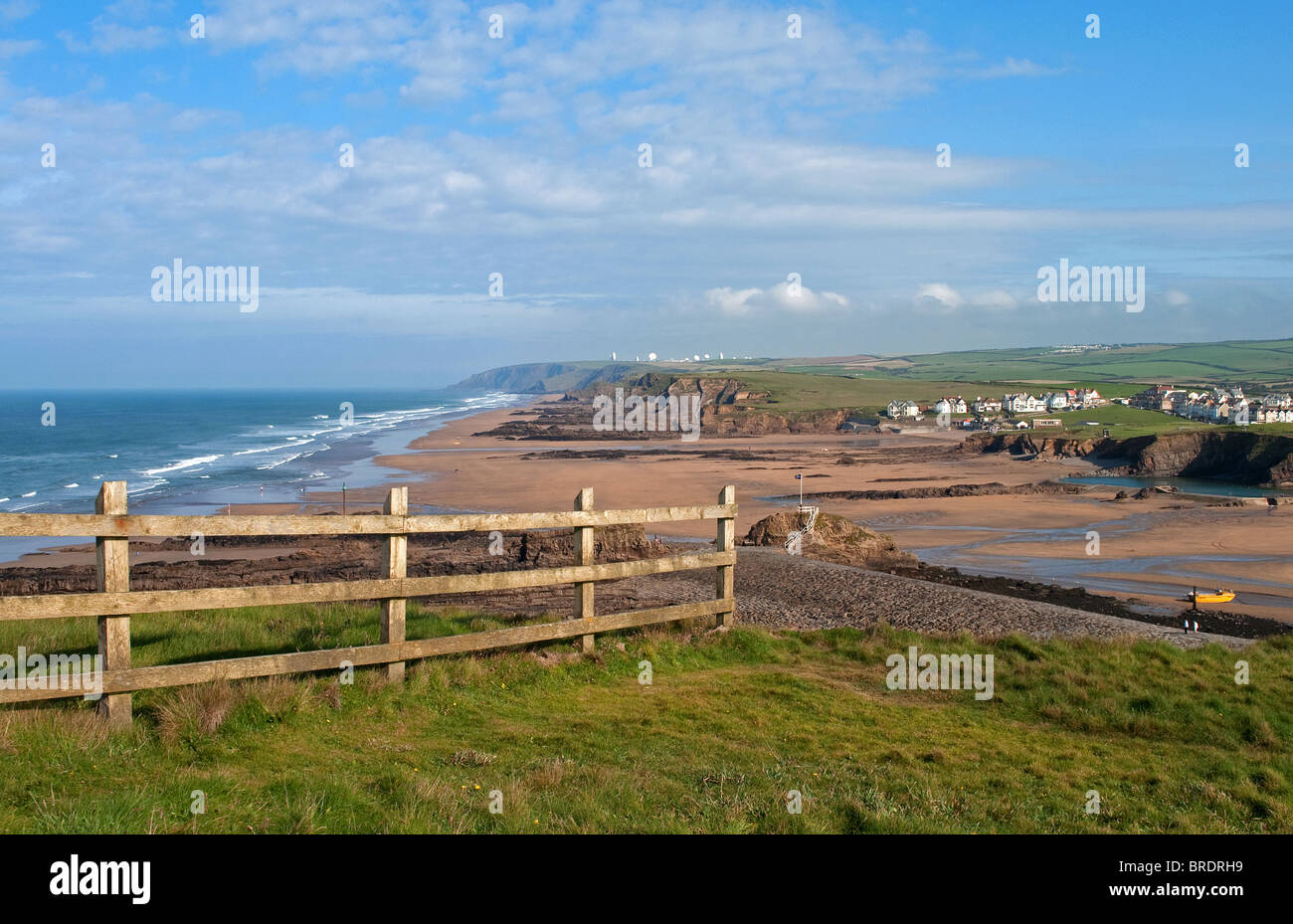 a view from compass point of the beaches at bude in cornwall, uk - Stock Image