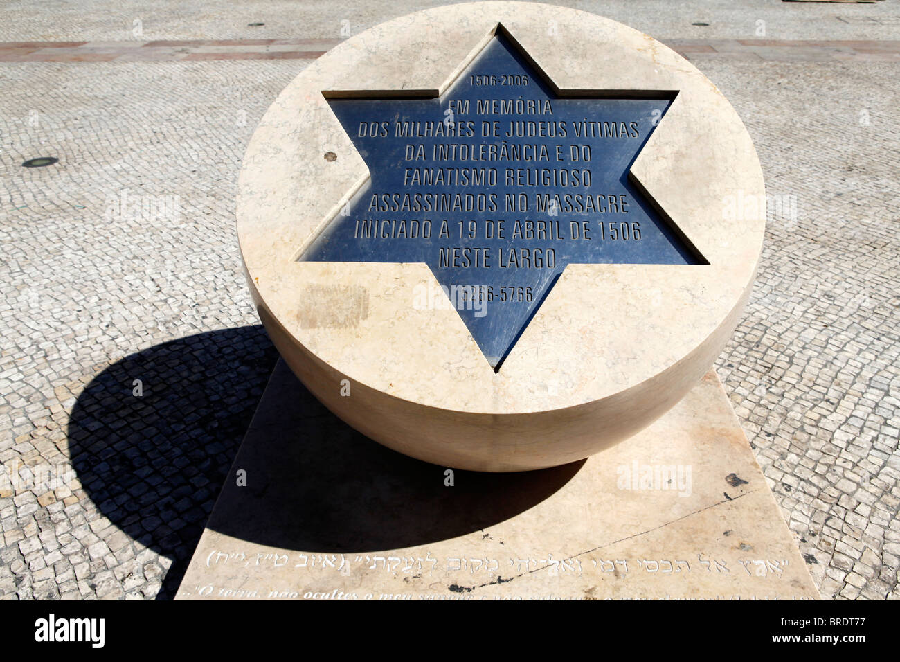 The memorial to the Jewish victims of intolerance and religious fanaticism which stands at the Largo do Sao Domingos - Stock Image