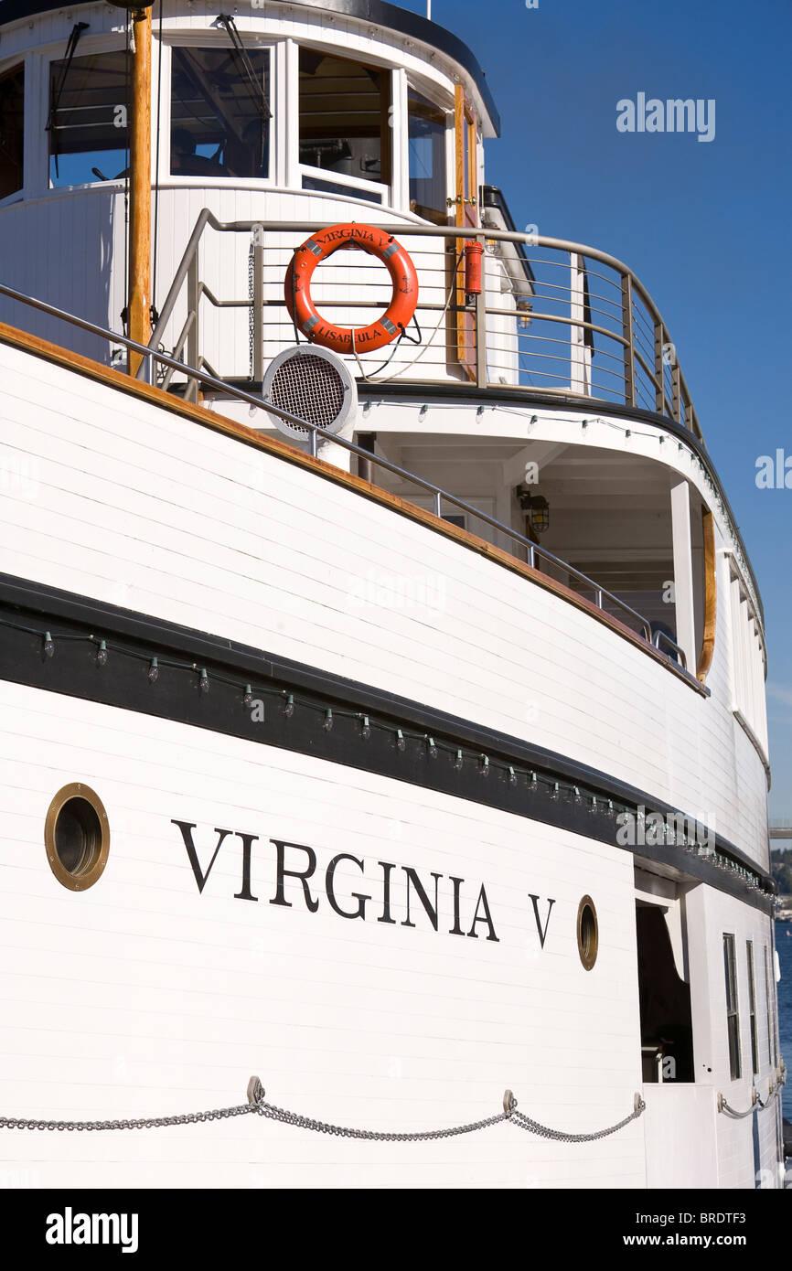 The Virginia V Steamship docked at Heritage Wharf, Lake Union Park, South Lake Union, Seattle, Washington Stock Photo