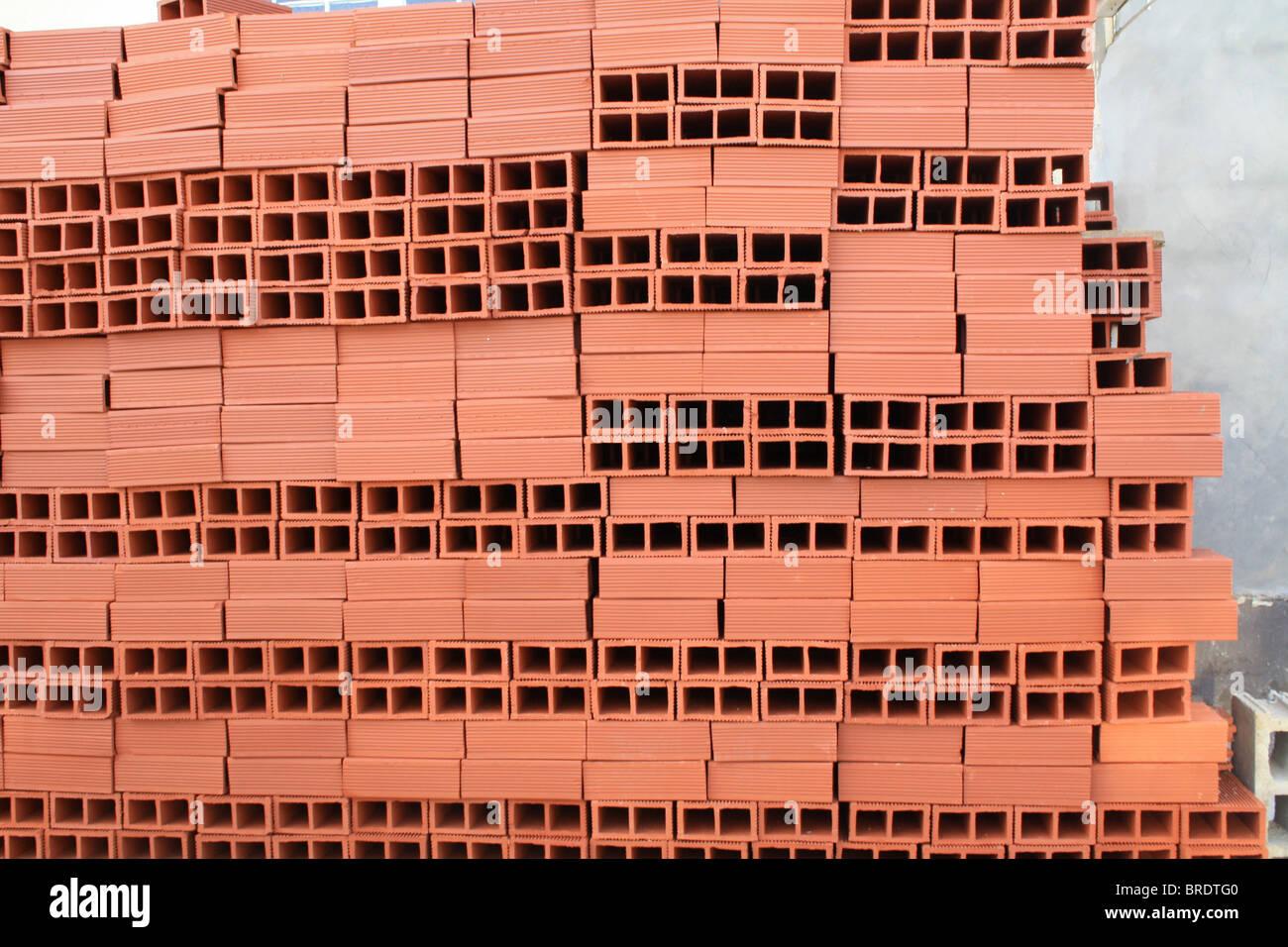 Construction Red Bricks. - Stock Image