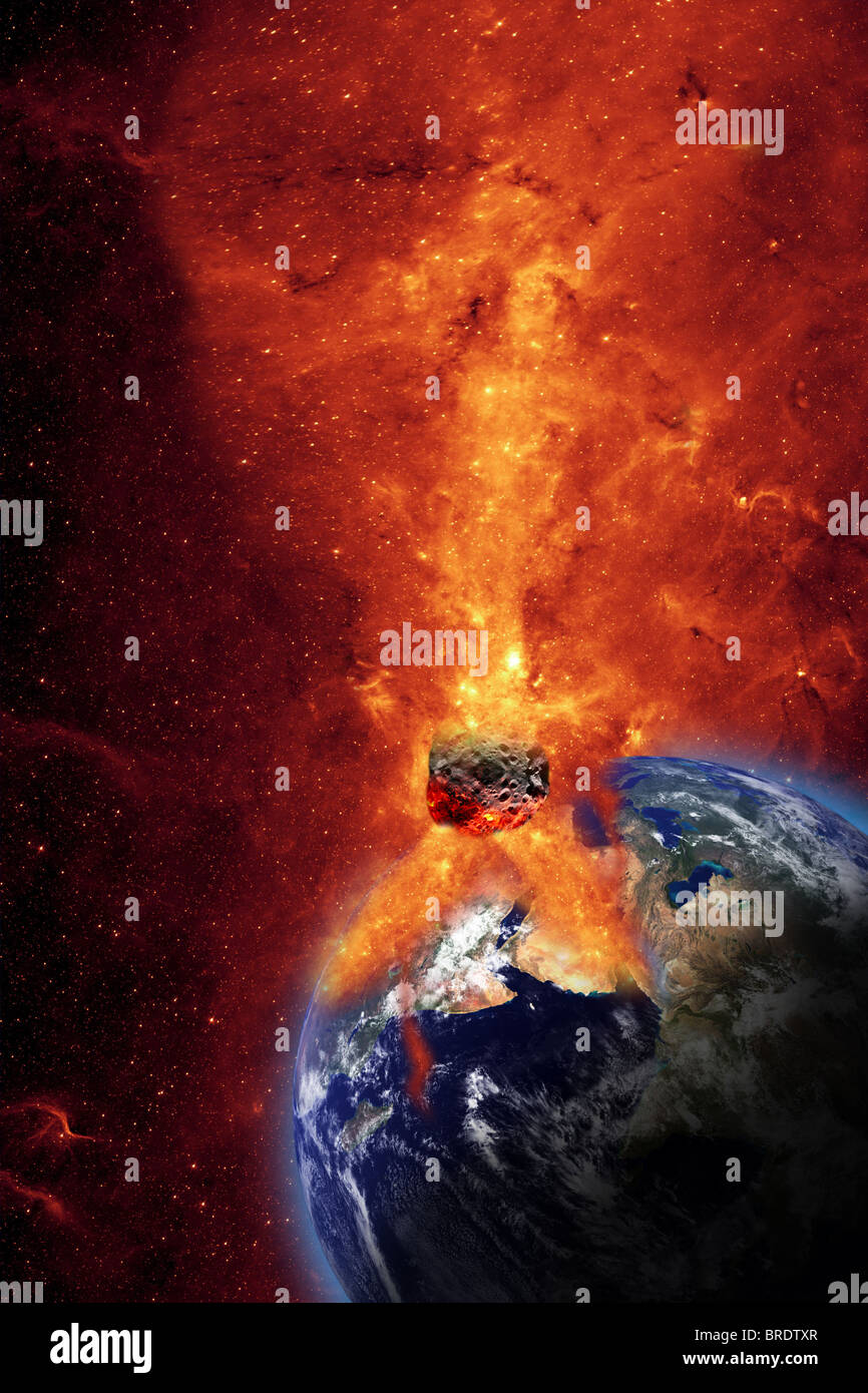 Meteor Falling to the Earth - Stock Image