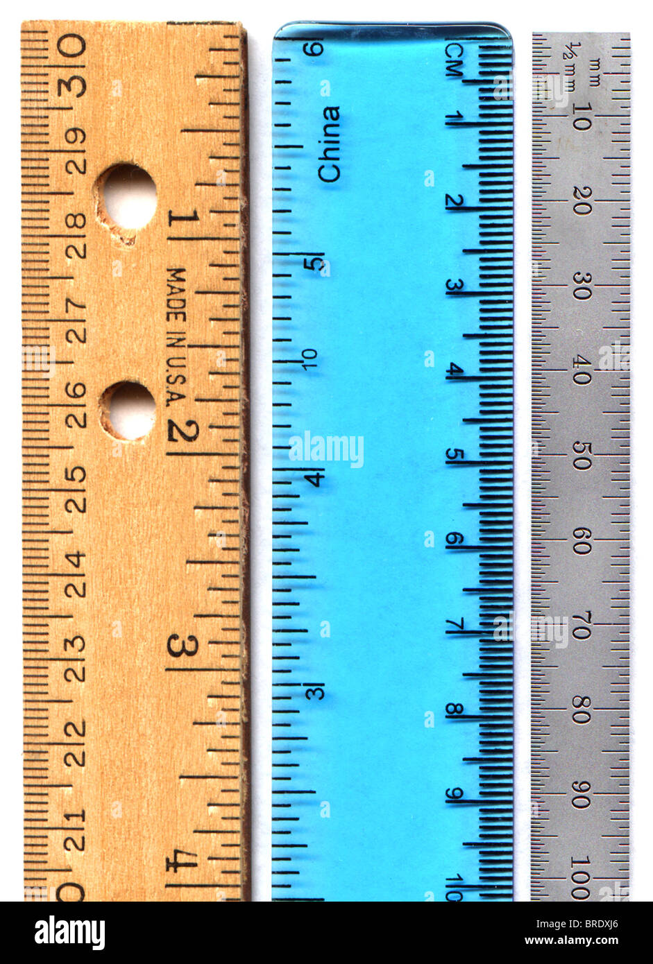 Inch, Centimeter & Millimeter Measuring Scales - Ruler - Stock Image