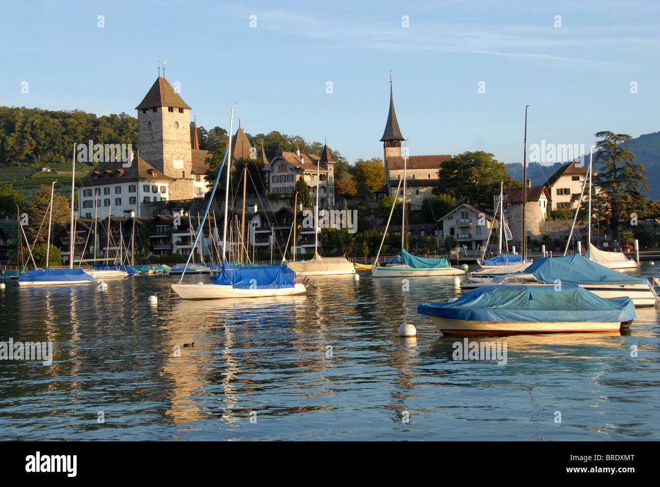 Castle Spiez on Lake Thun, Bernese Oberland, Switzerland Stock Photo