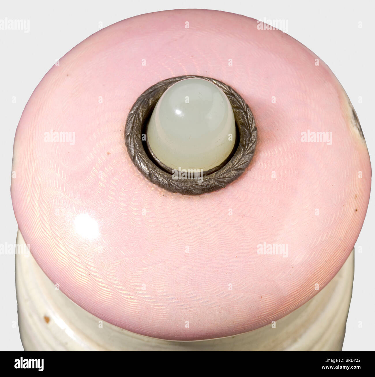 An enamelled bell button, probably Fabergé, end of the 19th century Silver and pink translucent enamel (two damages) Stock Photo