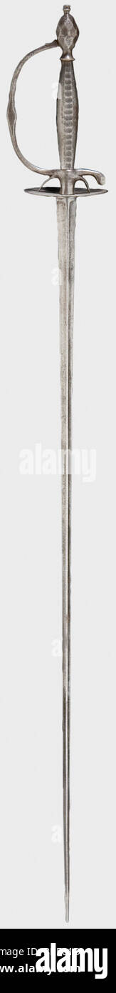 An iron small-sword, Germany(?), circa 1820 Slender triangular thrusting blade and iron hilt. Faceted grip and pommel. - Stock Image