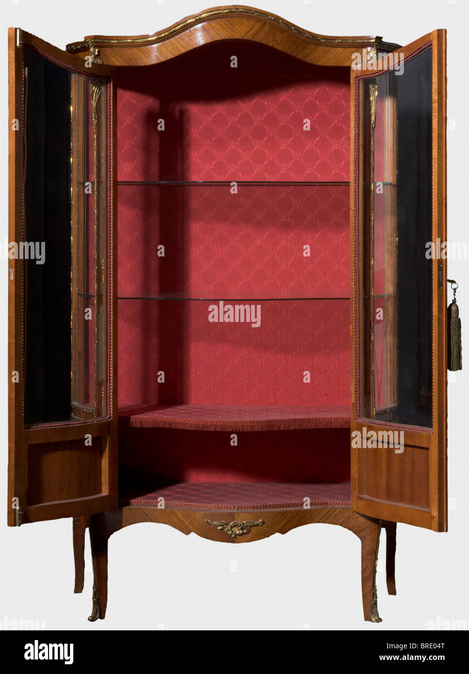 A serpentine display cabinet from the parlour décor, ascribed to the Gambs Workshop, Saint Petersburg, 1846. - Stock Image