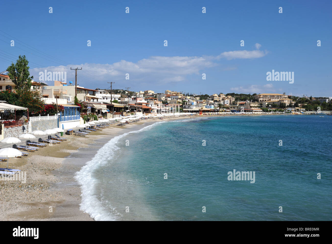 Beach and seafront at Agia Pelagia, Crete, Greece - Stock Image