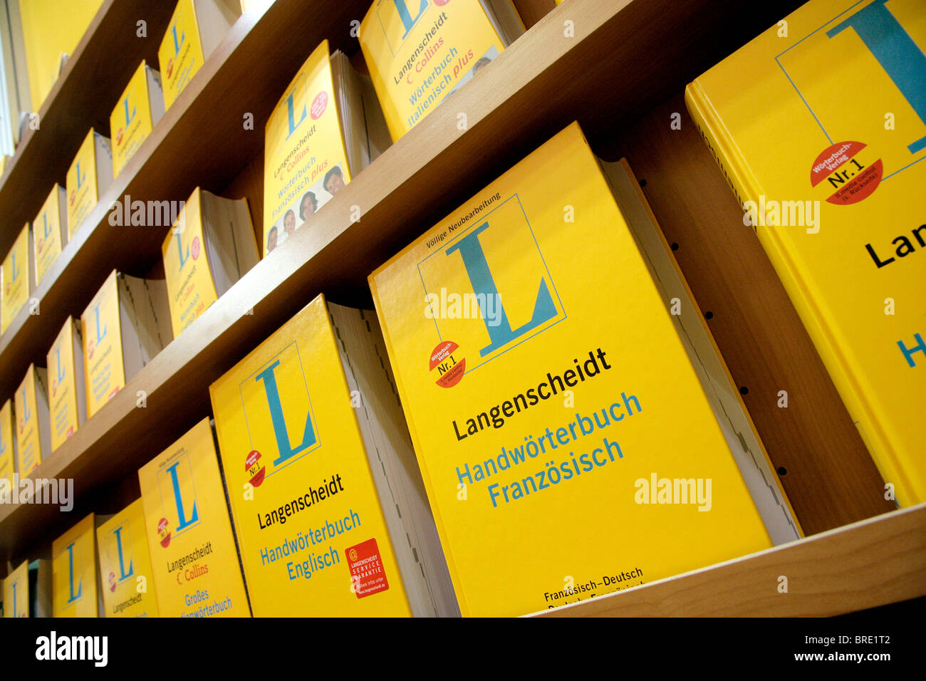 Langenscheidt dictionaries published by the publishing company Langenscheidt KG at the Frankfurter Buchmesse 2007 - Stock Image