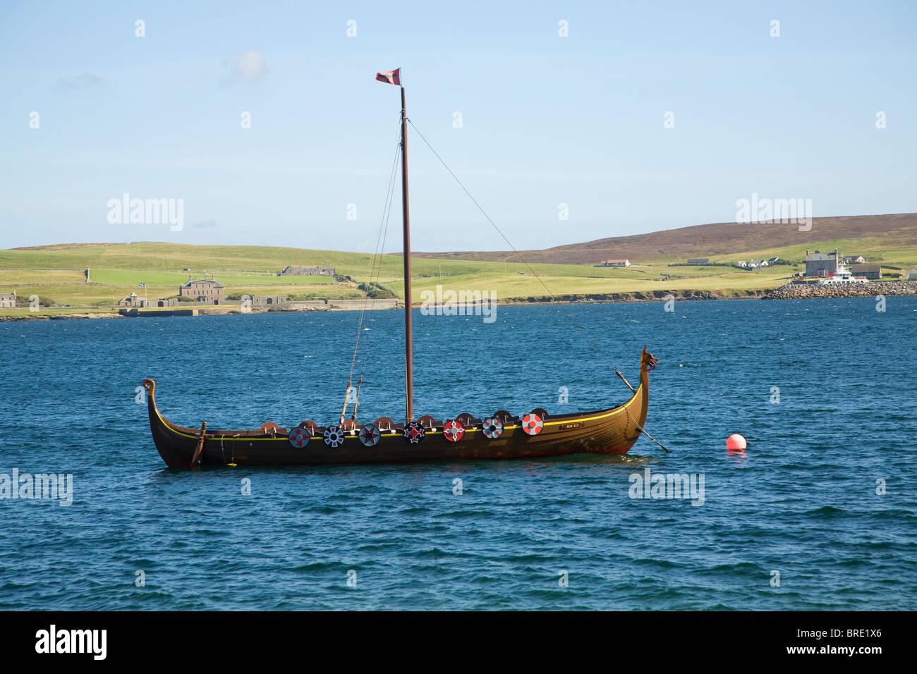 Viking longboat in Bressay Sound, Lerwick, Shetland Islands, Scotland - Stock Image