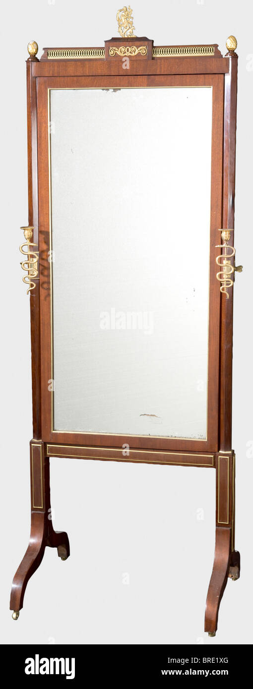A standing mirror from the dressing room, attributed to the Gambs Workshop in St. Petersburg Mahogany, walnut veneer, - Stock Image