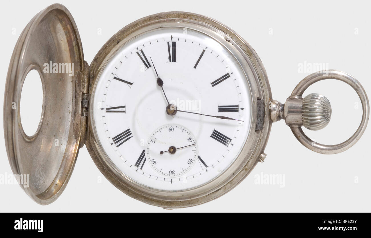 Kaiser Wilhelm I, an imperial prize in the form of a pocket watch silver-plated half-savonette. The front cover - Stock Image