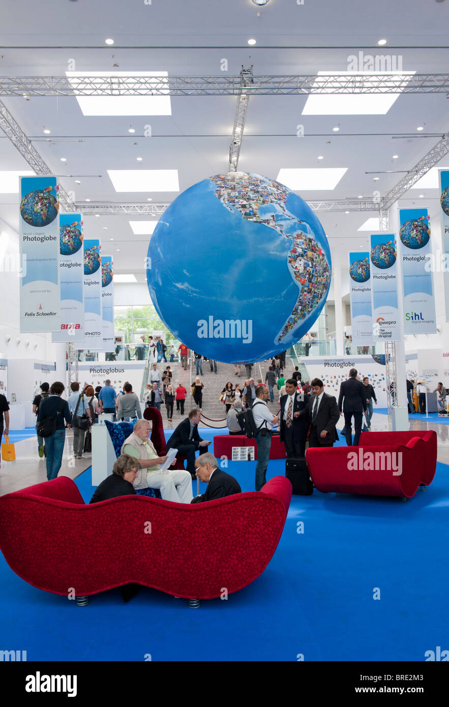 Entrance hall at Photokina digital imaging trade show in Cologne Germany - Stock Image