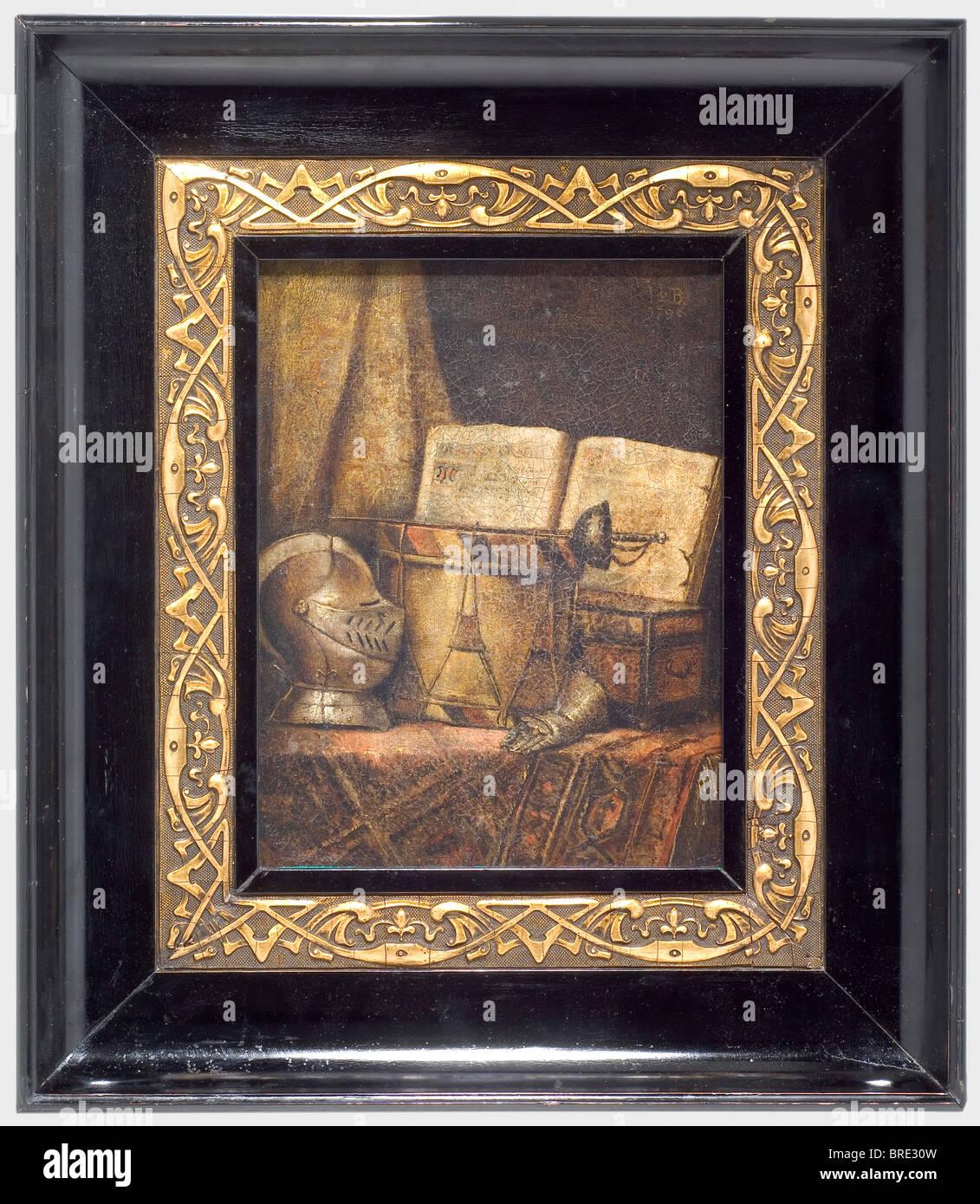Nicolas Henry Jeaurat de Bertry (1725 - 1796), a still life with visored helmet, sword, drum, and bible. Oil on - Stock Image