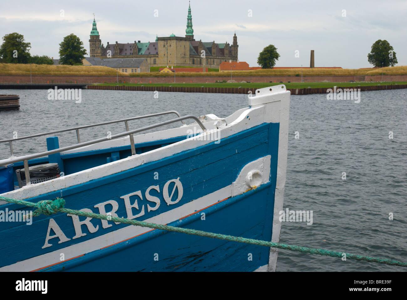 Boat and Kronborg castle Helsingor north Sjaelland Denmark Europe - Stock Image