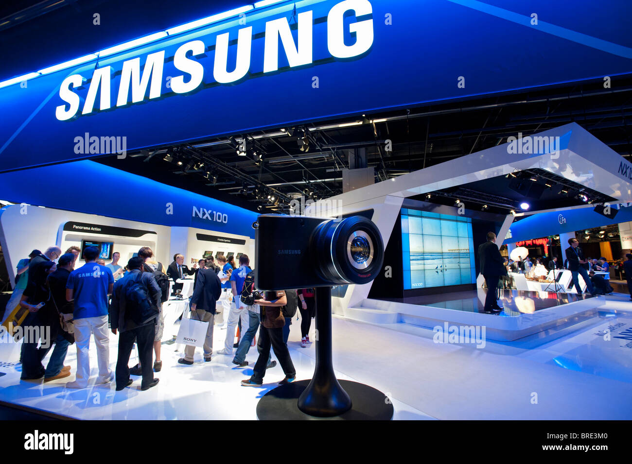 Samsung display stand at Photokina digital imaging trade show in Cologne Germany - Stock Image