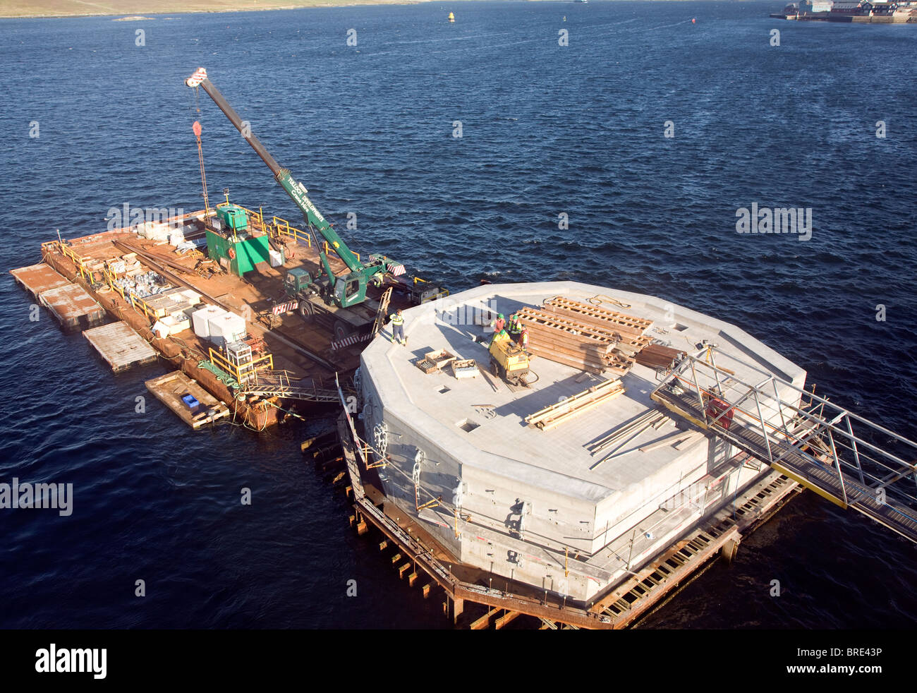 Construction work, Lerwick harbour, Shetland Islands, Scotland - Stock Image