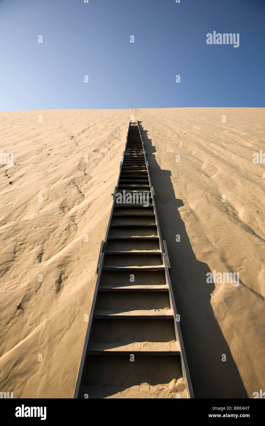 Stairs in the dune of Pyla, Dune du Pilat, biggest dune in Europe on the Atlantic coast near Arcachon, Departement - Stock Image