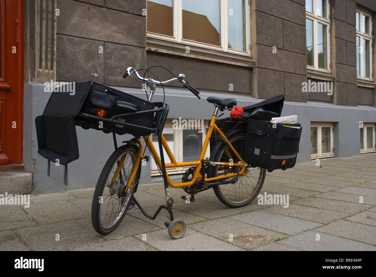 Postal delivery bicycle Helsingor north Sjaelland Denmark Europe - Stock Image