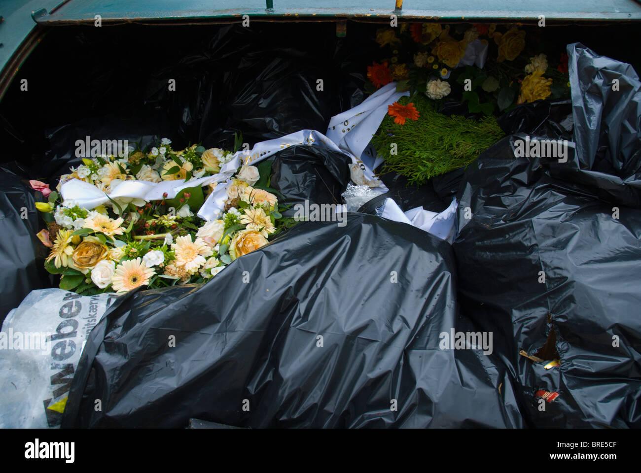 Thrown away wreaths and flowers Helsingor north Sjaelland Denmark Europe - Stock Image