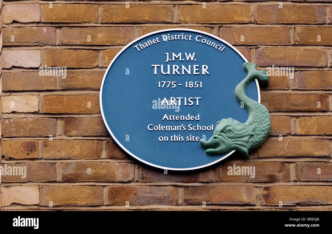 J M W Turner artist 's blue plague on a building in the old town Margate Kent UK - Stock Image