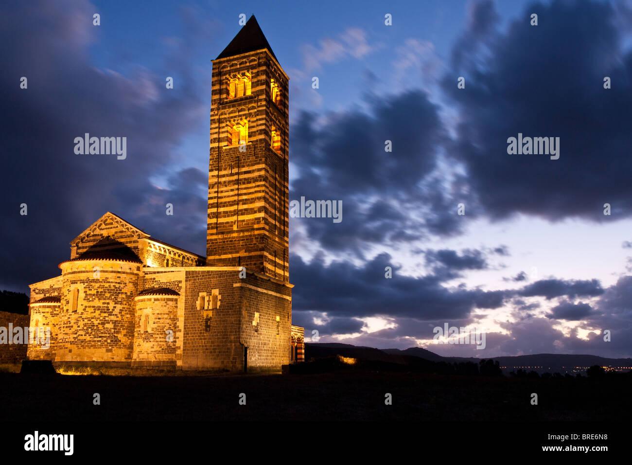 Saccargia's church in northern Sardinia at dusk - Stock Image