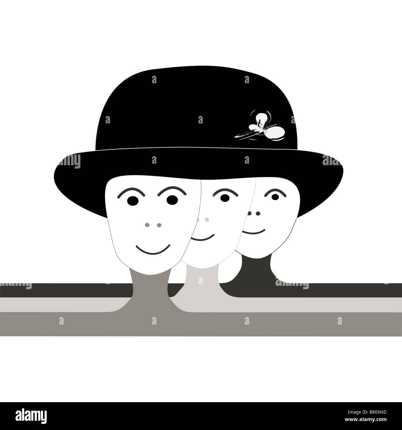 Under one hat, icon illustration in black and white of tree graphic personalities, in various shades of grey on - Stock Image